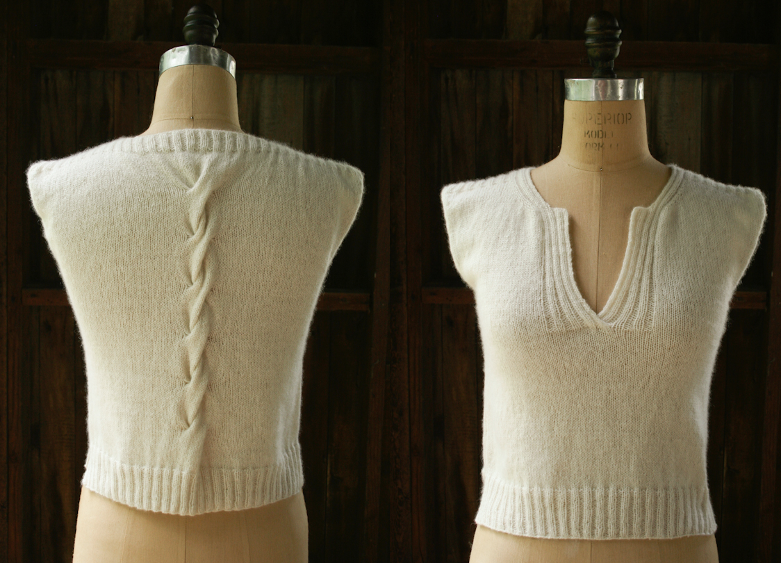 Cable Shell Sweater. Pattern available at website