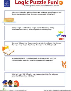 Logic Puzzle Fun 1 Worksheet Education Com Math Logic Puzzles Math Riddles Brain Teasers Logic Puzzles