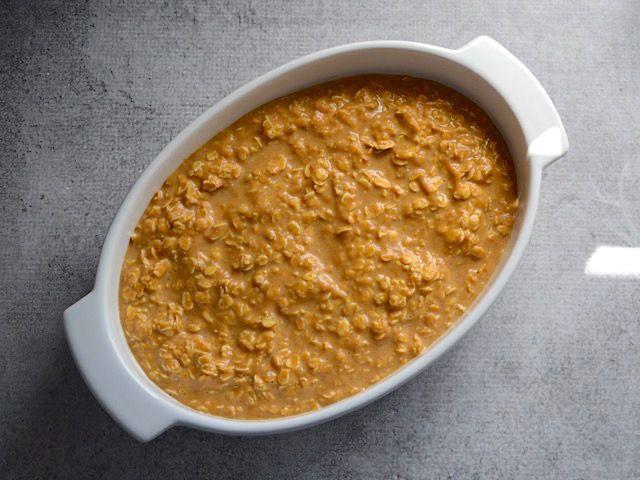 Pour Wet Oats into Casserole Dish
