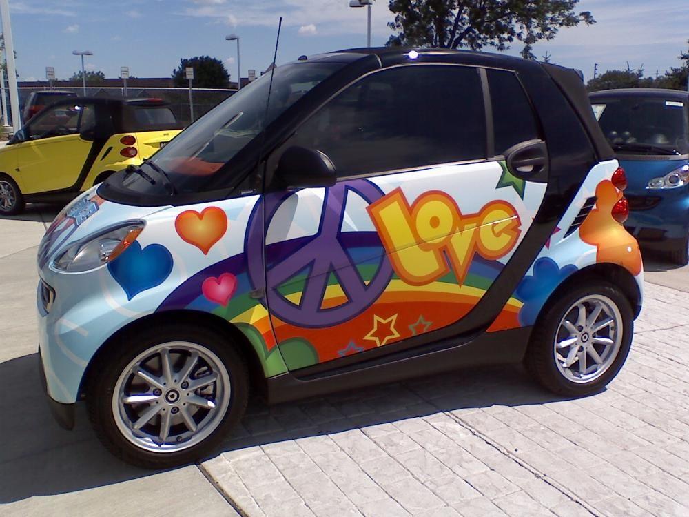 Flower power so cute smart car smart fortwo car wrap