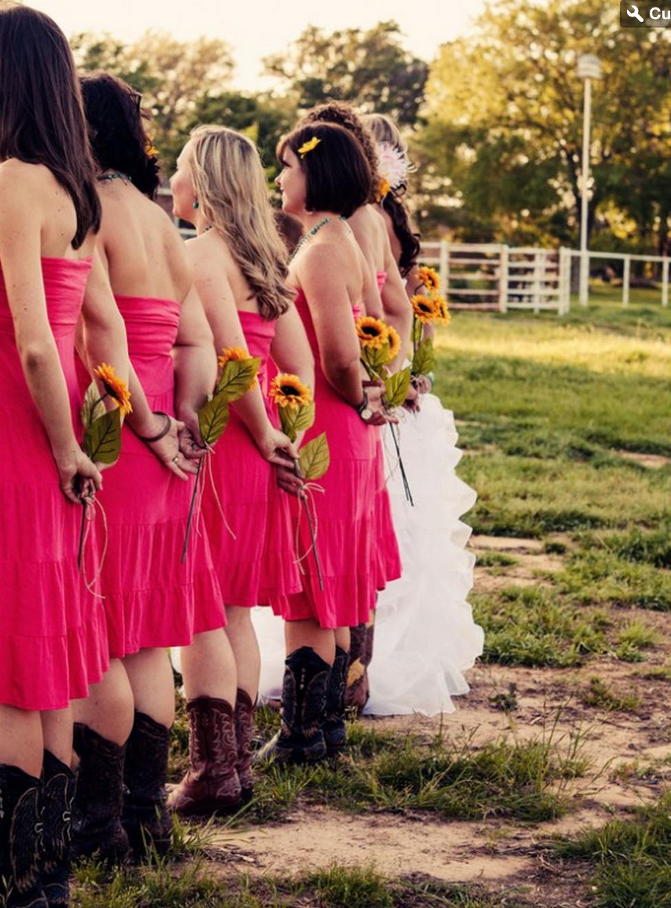 Purple camo wedding dresses  barn wedding boots sunflower  Cowgirl Wedding  Pinterest  Cowgirl