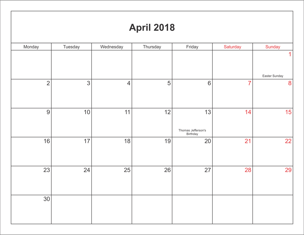 April  Calendar Printable With Holidays Pdf And Jpg  Planner