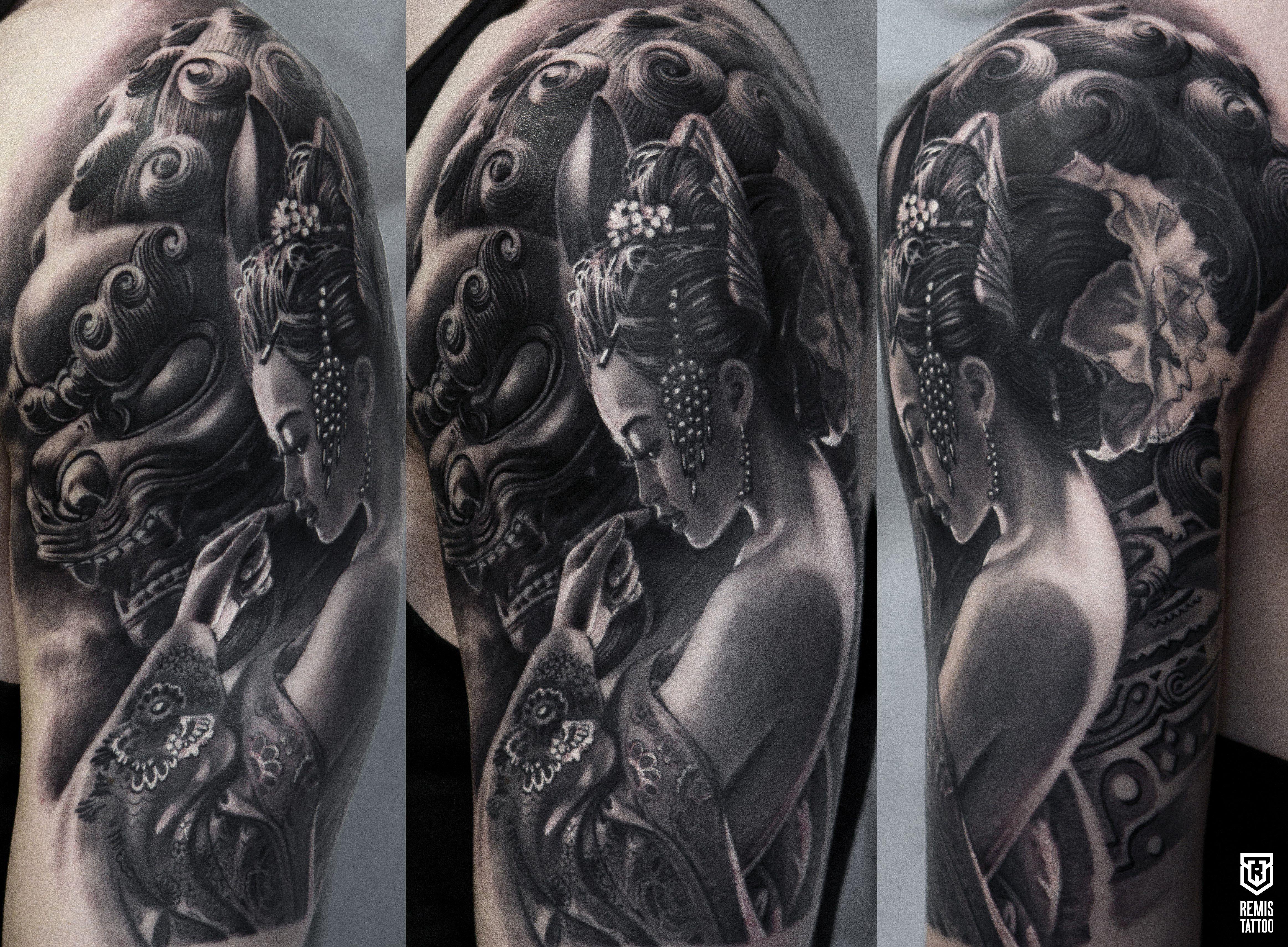 Geisha Tattoo Japanese Tattoo Fudog Tattoo Realistic Tattoo Dublin Tattoo Ireland Tattoo Tattoo Inspiration Geisha Tattoo Design Geisha Tattoo Tattoos