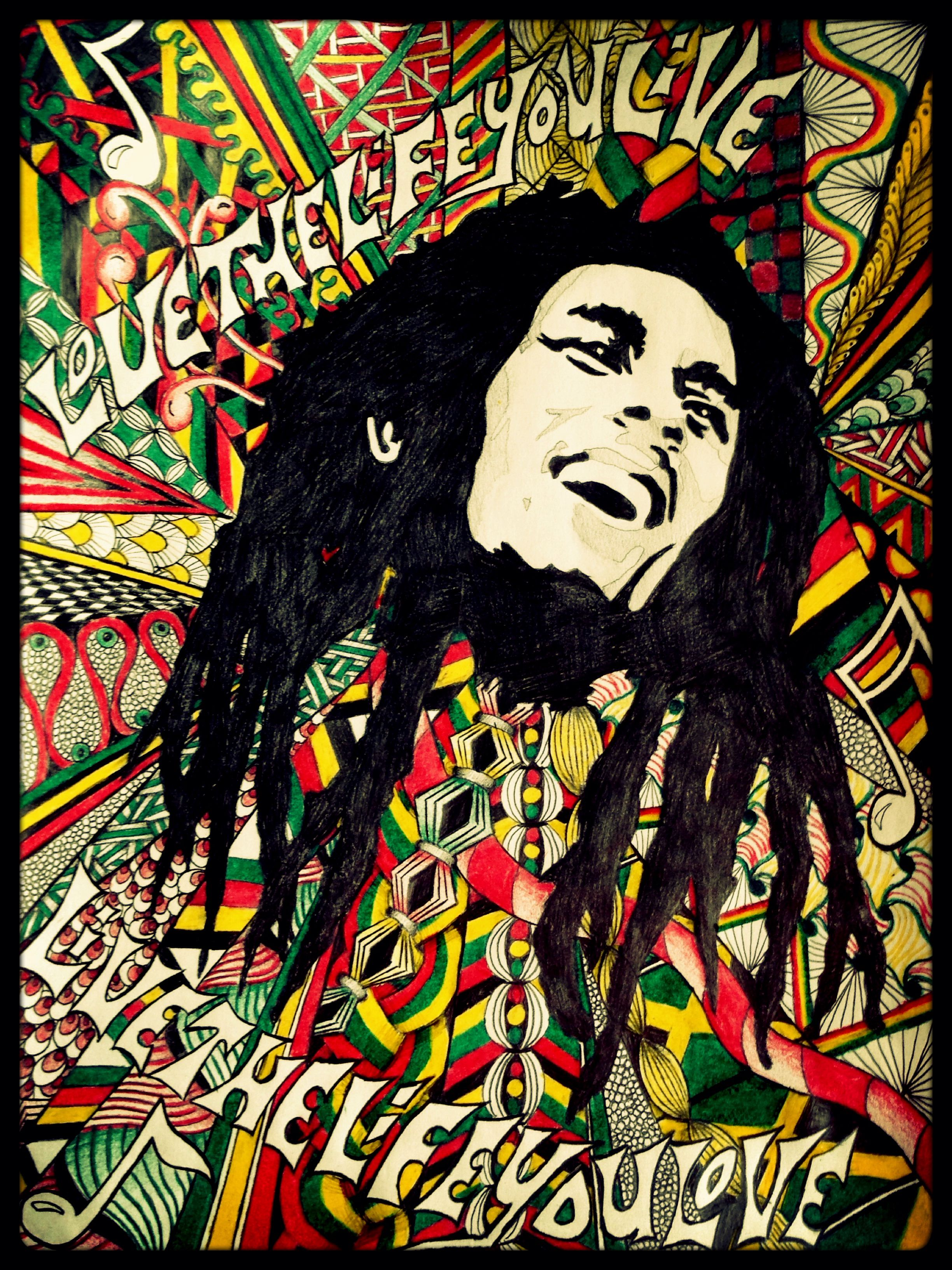 Bob Marley Rasta Jamaican Zentangle | Yard in 2019 | Bob ...