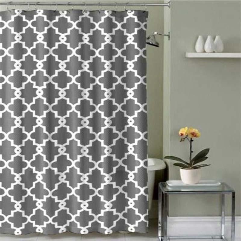 Grey Modern Pattern Shower Curtain Fabric Shower Curtains