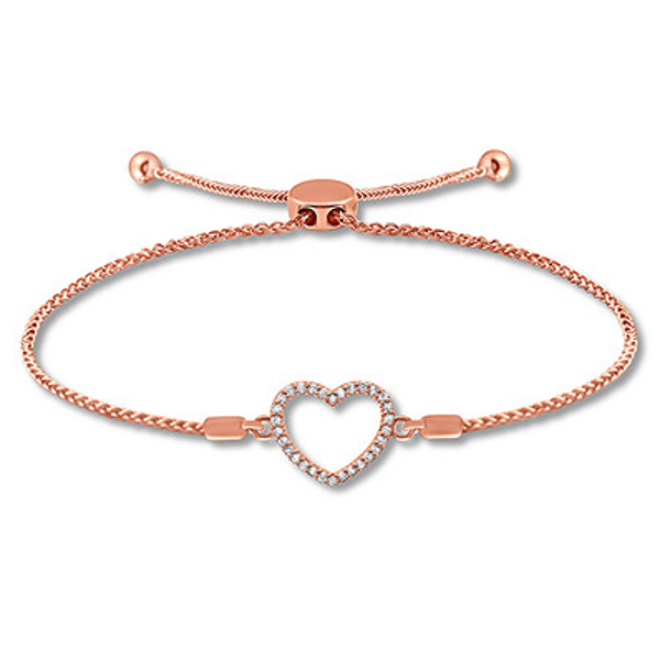 Diamond Heart Bolo Bracelet 1 10 Carat Tw 10k Rose Gold Bracelets Diamond Heart Rose Gold