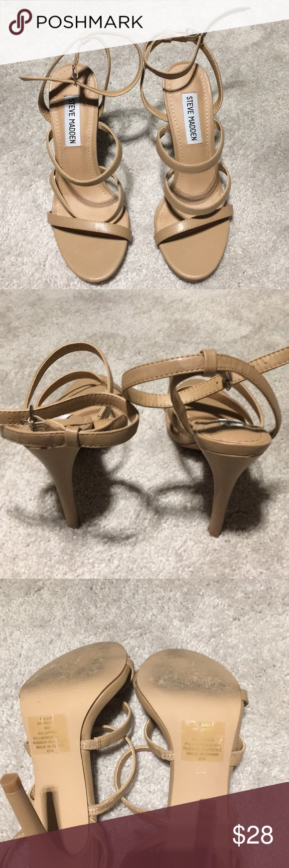 "097e6fad9b5 Like new Steve Madden Fauna heels Gorgeous beige Steve Madden strappy Fauna  sandals. 4"" heel. Strap around the ankle. Runs true to size."