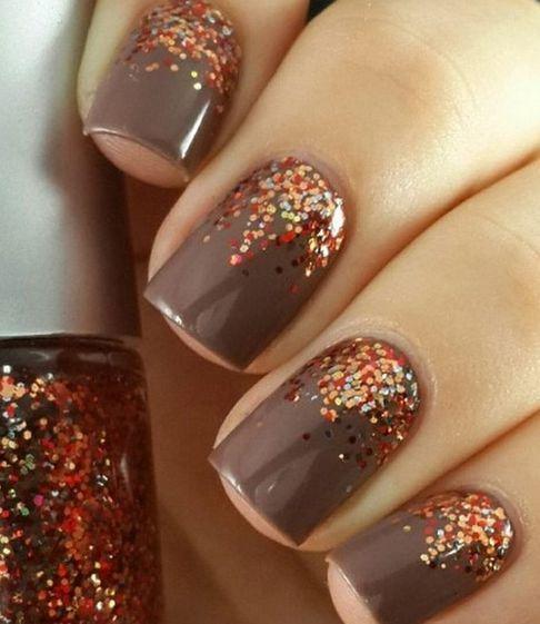 Perfect Fall Nail Mani With Glitter Tumblr Nails Pinterest