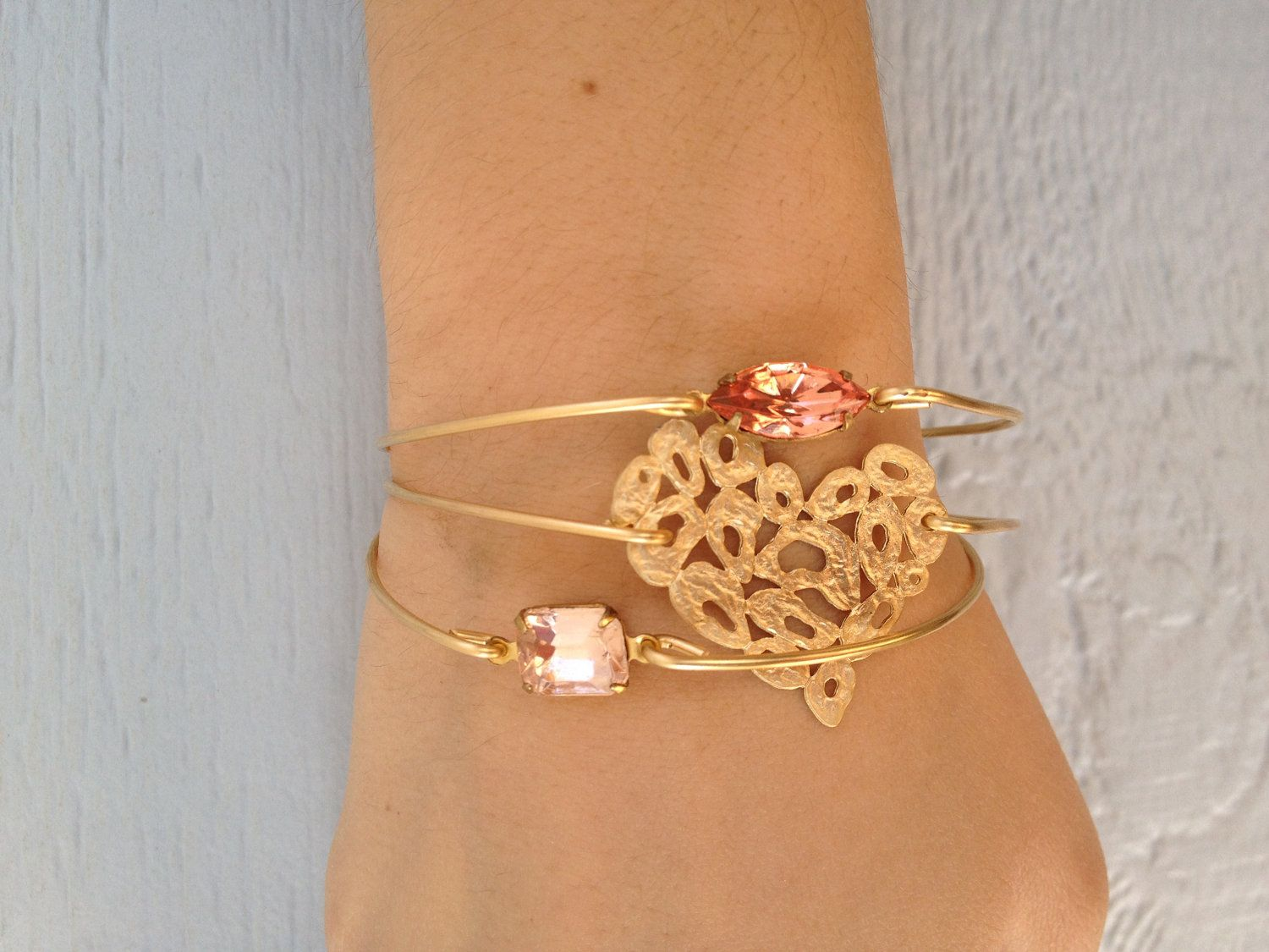 Single stone peach gold bangle bracelet gold bangles bangle and peach
