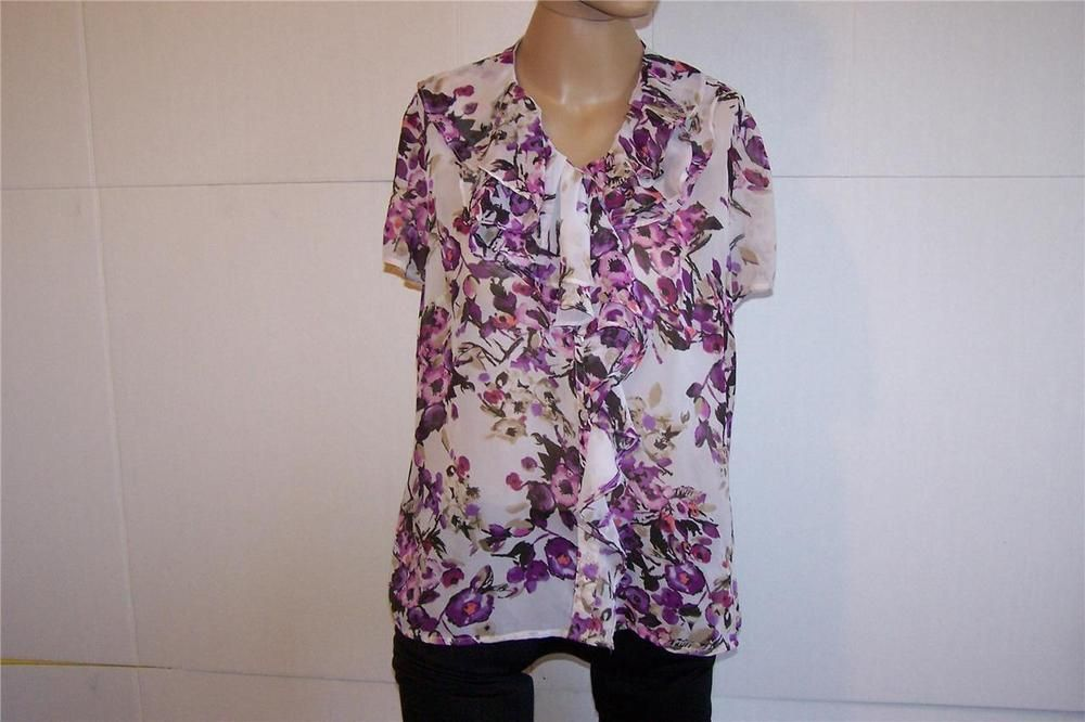EAST 5TH Shirt Blouse Sz M Sheer Floral Ruffled Button Front Short Sleeves #East5th #ButtonDownShirt #Career