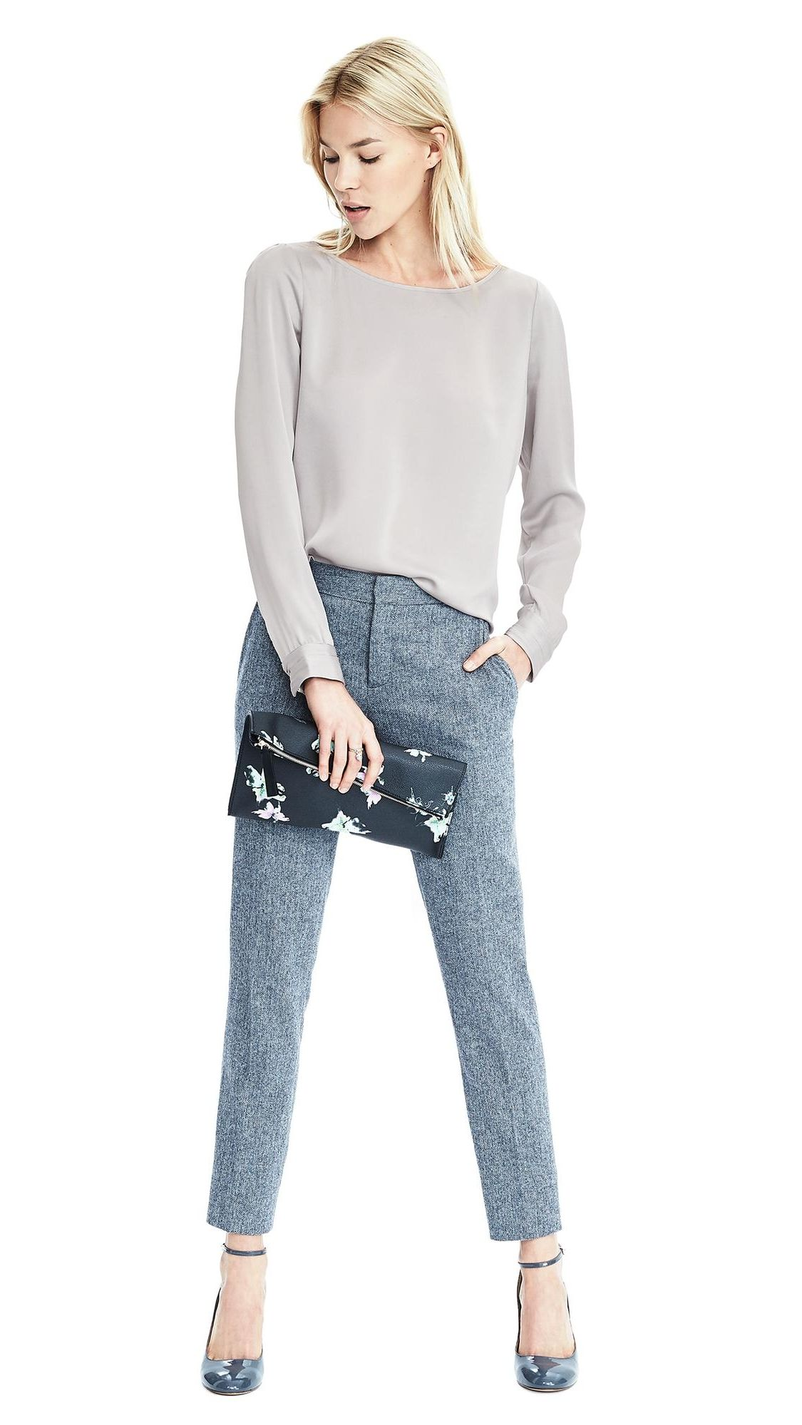 Keep your date night look effortlessly chic with our classic silky feel boatneck top paired with a powder blue pant and a bold clutch | Banana Republic