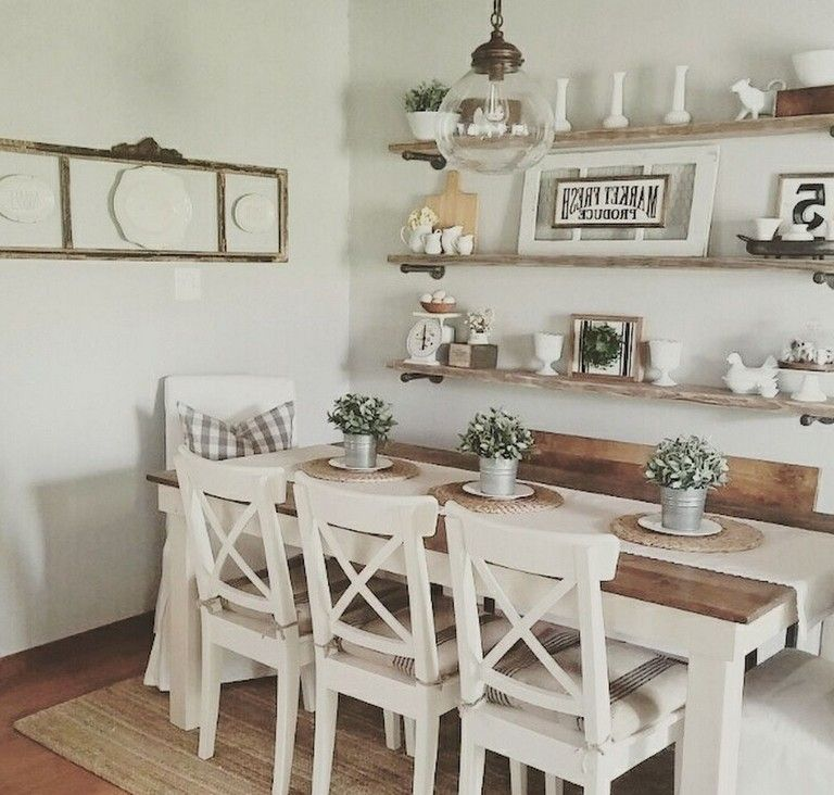 73+ Amazing Farmhouse Dining Room Table & Decorating Ideas images