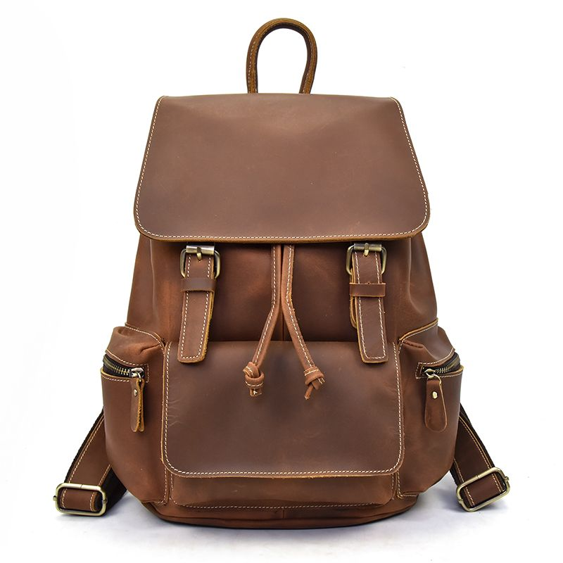 Women genuine Leather backpack fit 14