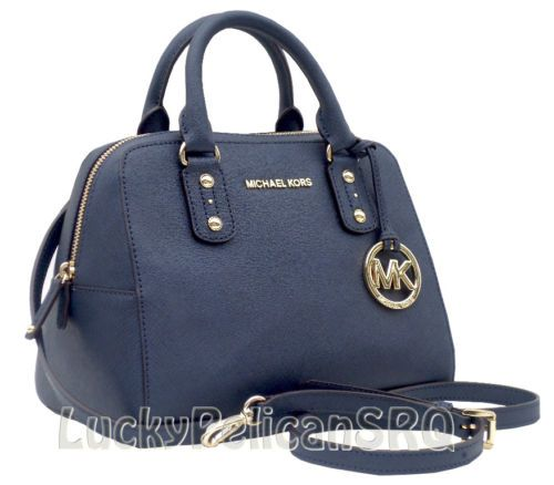 MICHAEL Michael Kors Small Saffiano Blue Navy Satchel Purse Bag ...