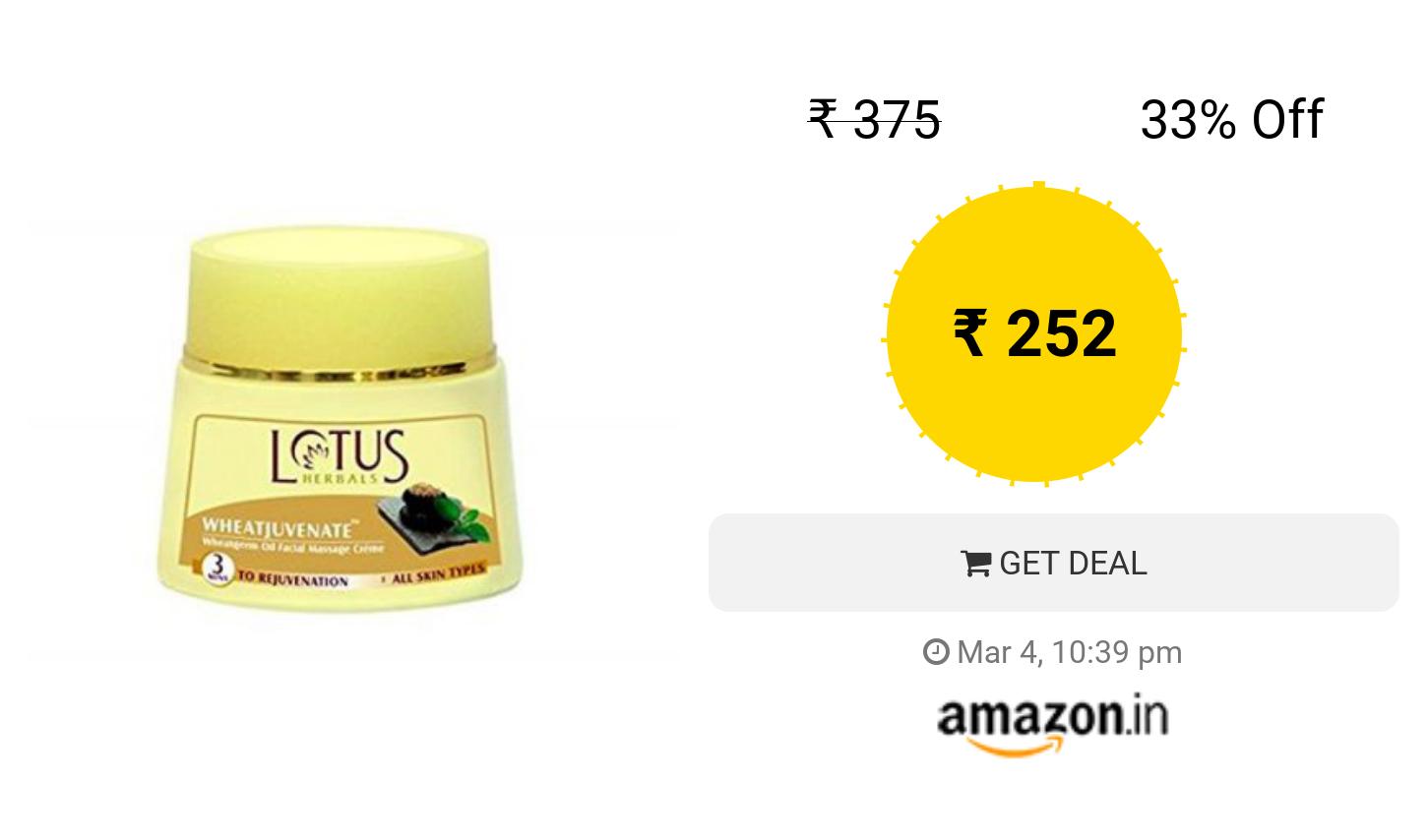 Lotus Herbals Wheatnourish Wheatgerm Oil And Honey Nourishment Massage Cream 50g Herbalism Nourishment Massage