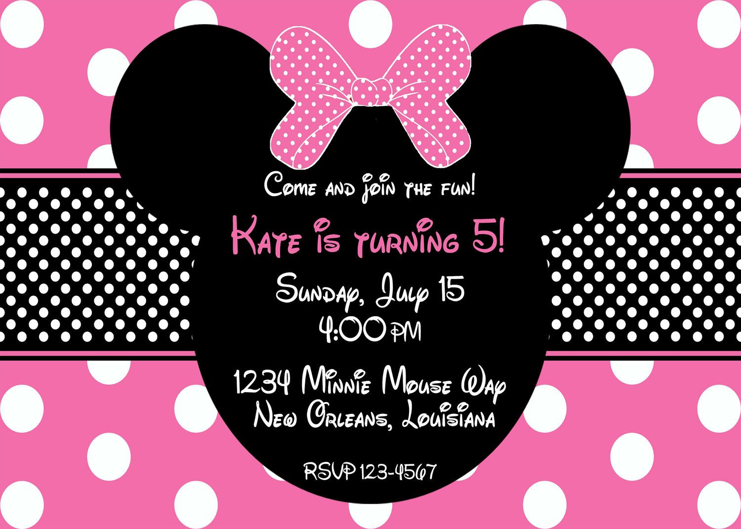 minnie mouse invitations | Pink Minnie Mouse Birthday Invitation ...