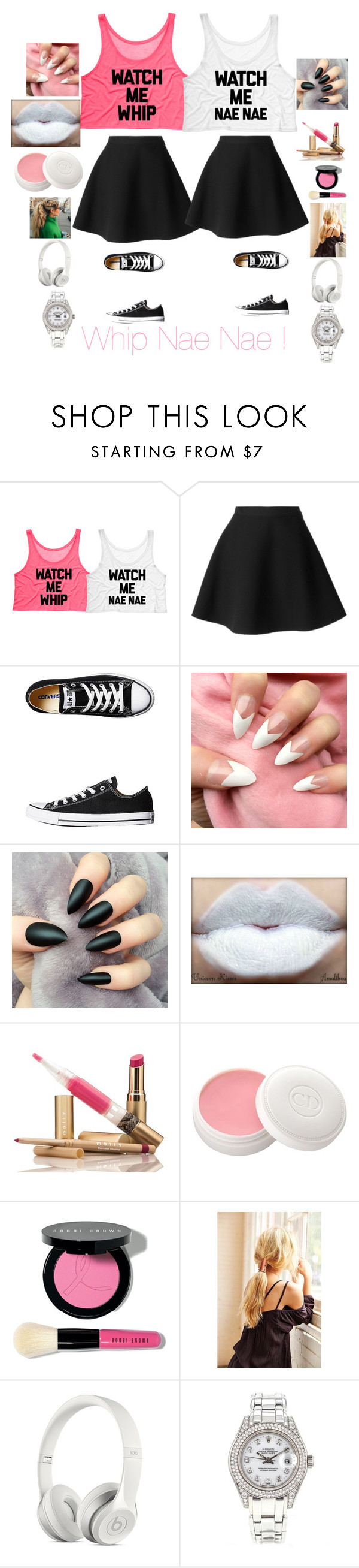"""Whip Nae Nae"" by algreen0330 ❤ liked on Polyvore featuring beauty, MSGM, Converse, Christian Dior, Bobbi Brown Cosmetics and Rolex"