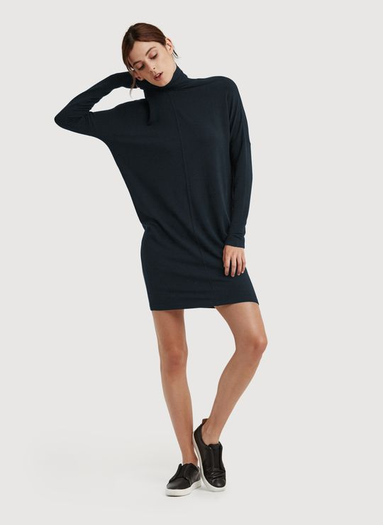 Women's Doublestacked Turtleneck Dress - Laidback Brushed Dress | Kit and Ace