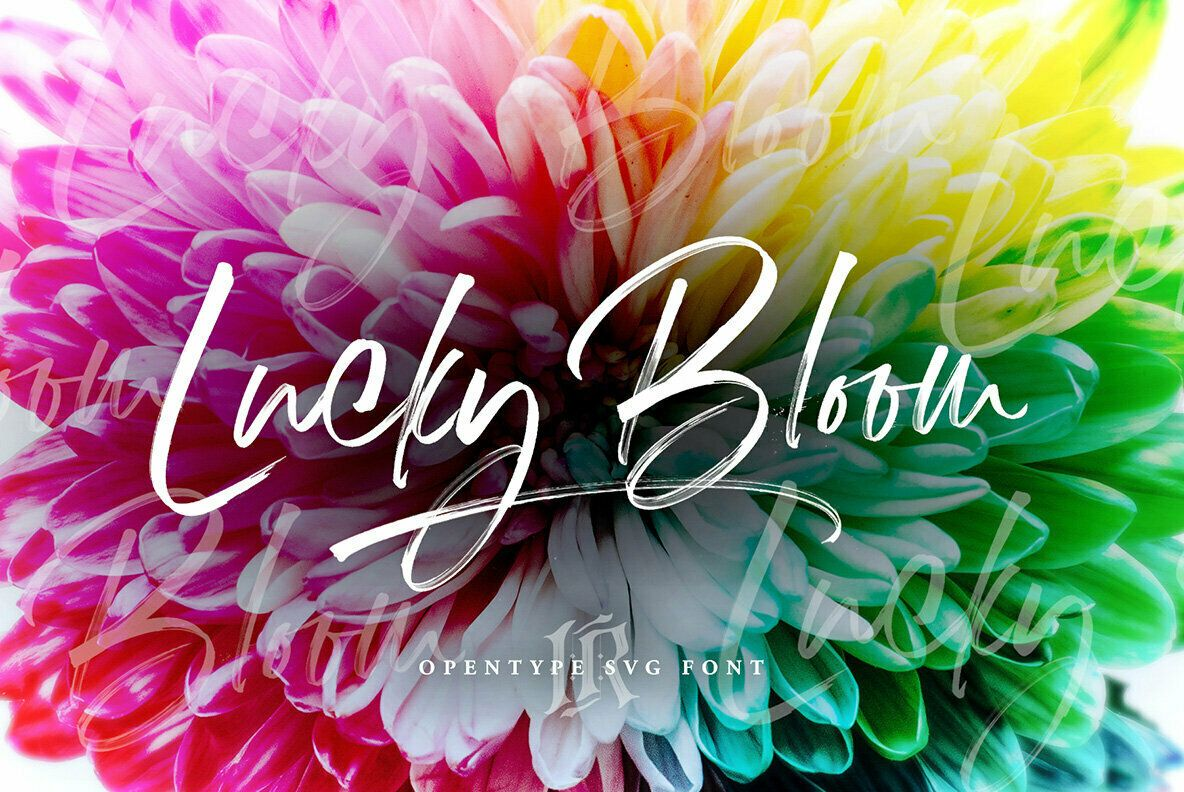 Download Lucky Bloom SVG   Bloom, Creative fonts, Pretty fonts
