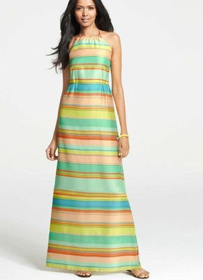 Ann Taylor Sun Stripe Maxi Dress NWT sz0 #305101 SUMMER2013