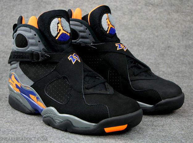 black and orange jordan 8