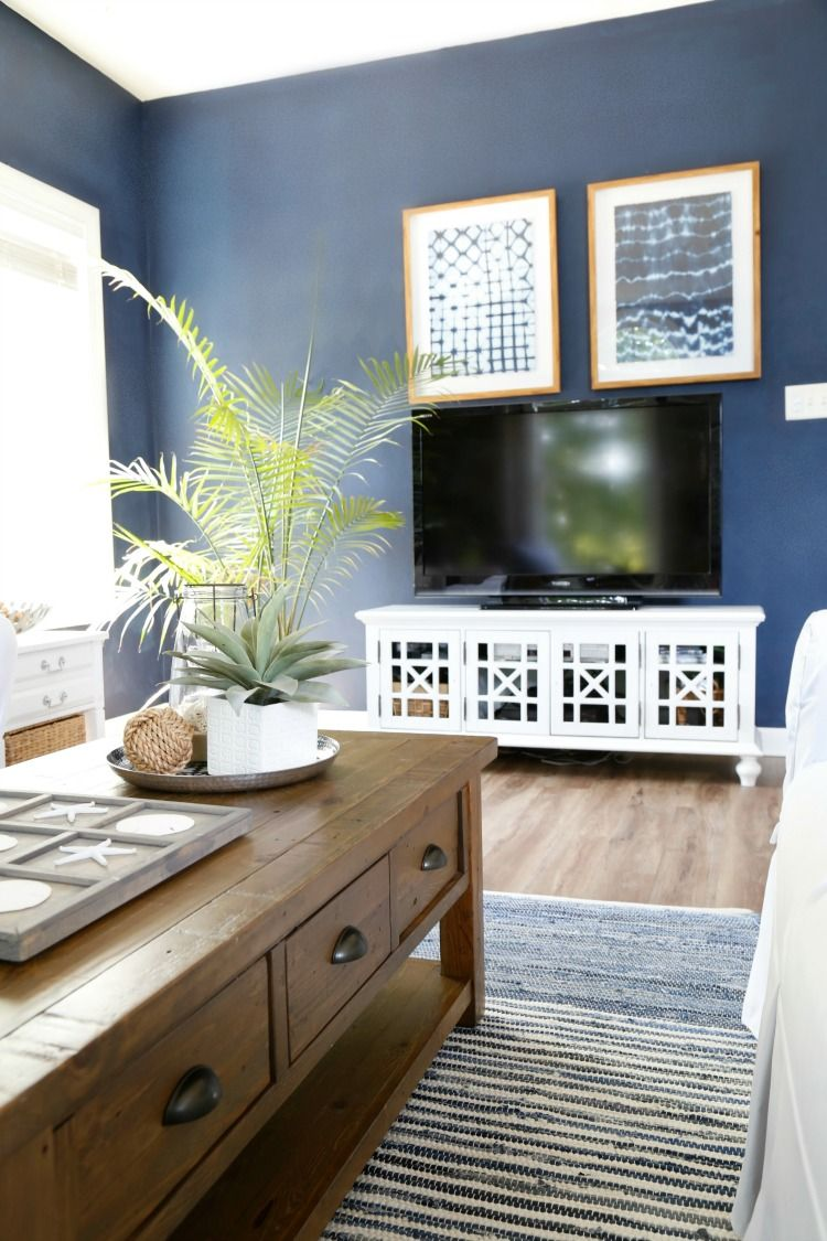 Navy blue media room sherwin williams naval