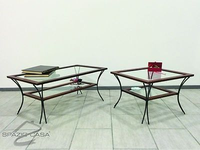 Tavolino Salotto Ferro Battuto E Vetro.Dettagli Su Tavolino Da Salotto In Legno Con Piedi In Ferro E