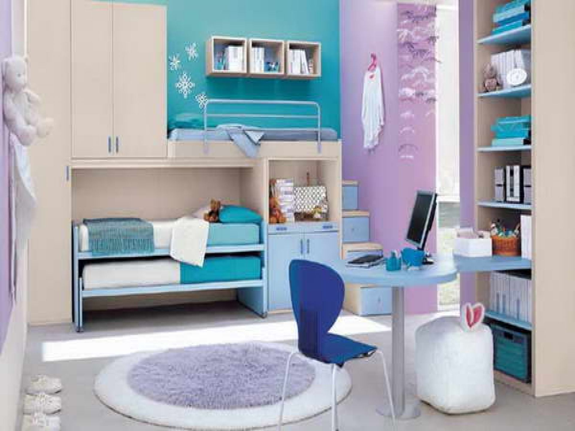 Soft Blue And Purple Paint Wall Combine Cool Girl Bedrooms With Cream Wood Closet And Twin Small Blue Themed Bedroom Bedroom Design Teenage Girl Bedroom Decor