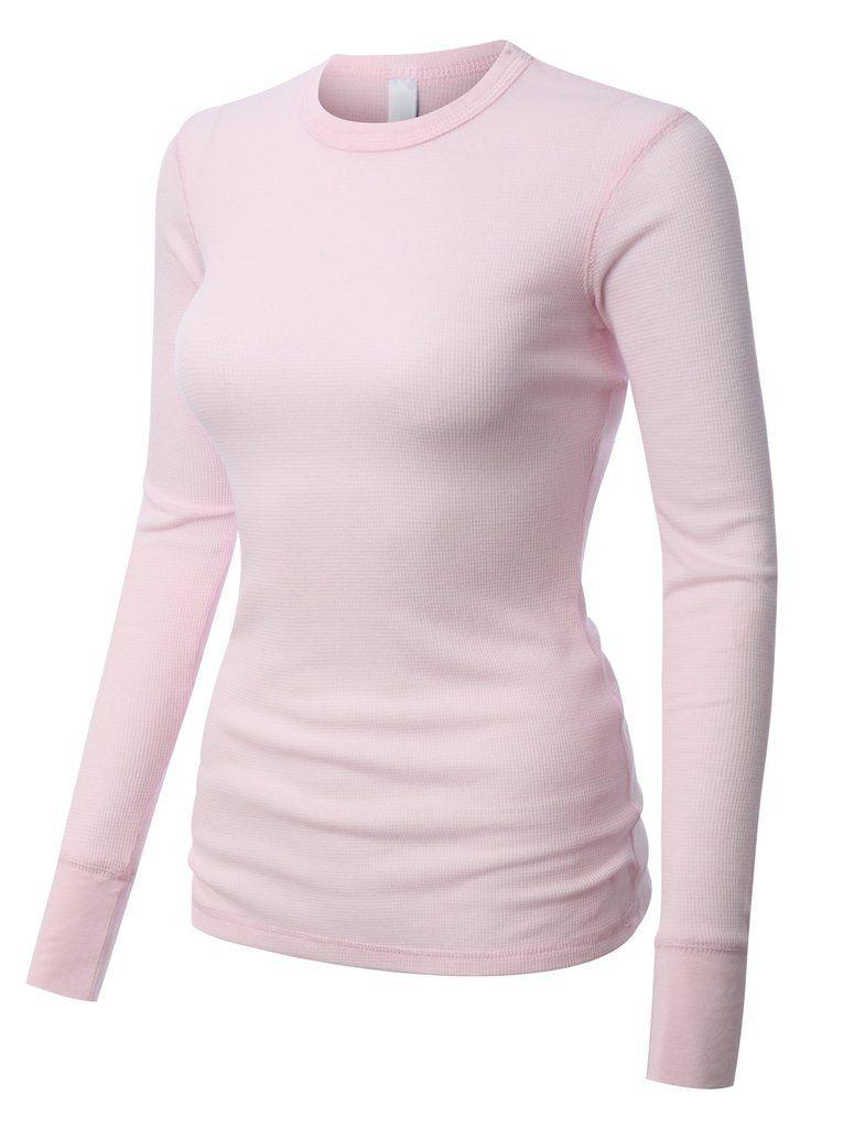 PREMIUM Womens Lightweight Long Sleeve Soft Waffle Knit Thermal ...