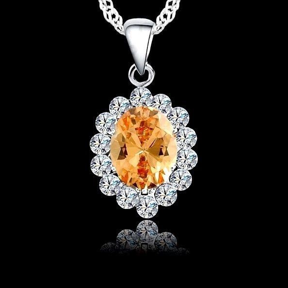 Classic Champagne Colour Oval Cubic Zirconia Silver Plated Pendant Necklace