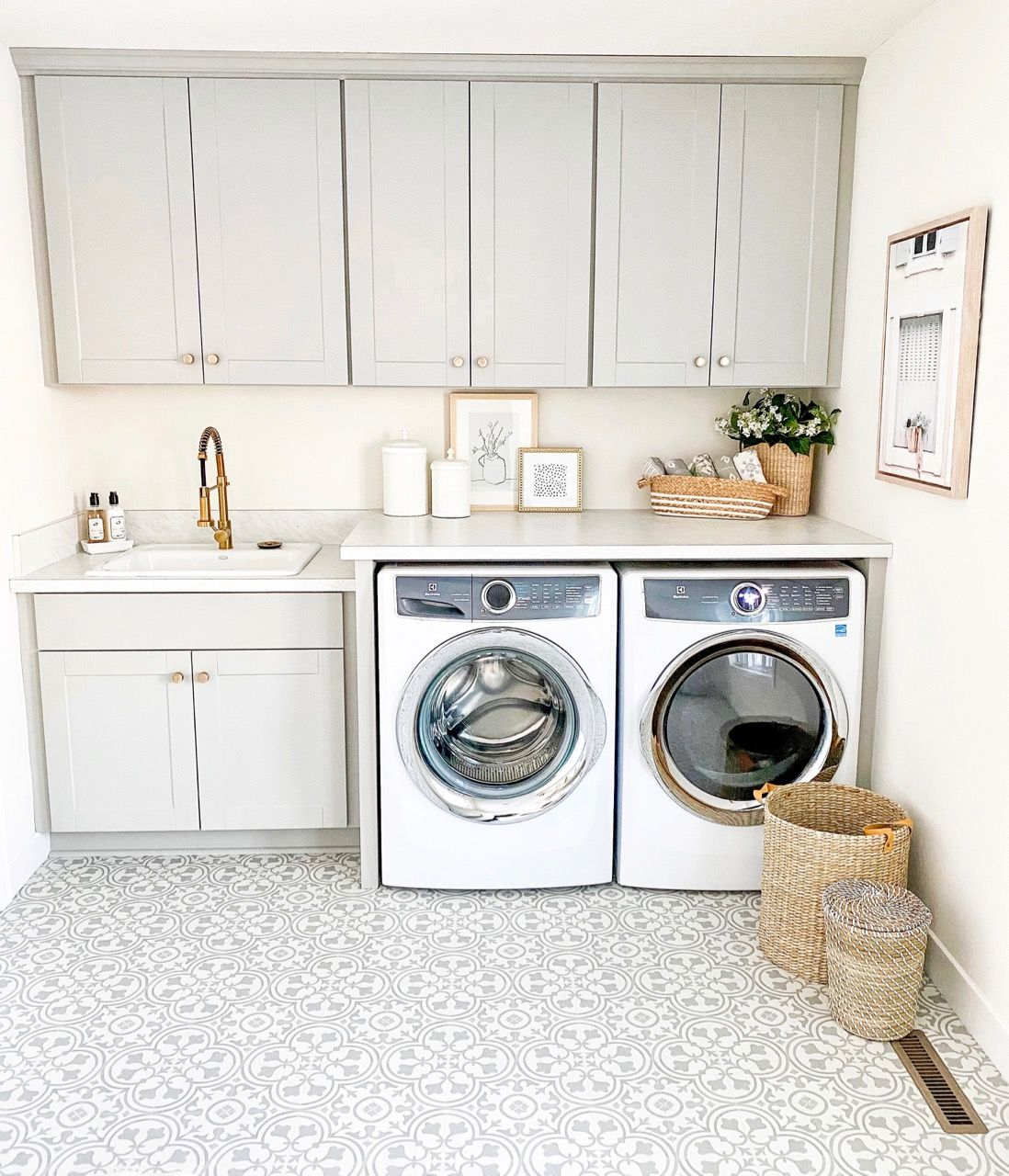 Gray and White Laundry Room Makeover Reveal