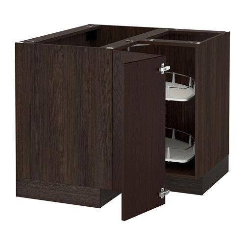 SEKTION Corner base cabinet with carousel, brown, Ekestad brown