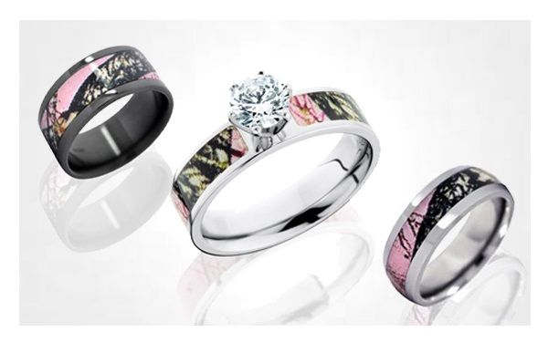 hunting Wedding rings Camo Wedding Rings with Real Diamonds for