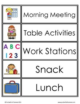 kindergarten timetable template - daily schedule cards visual schedules schedule cards