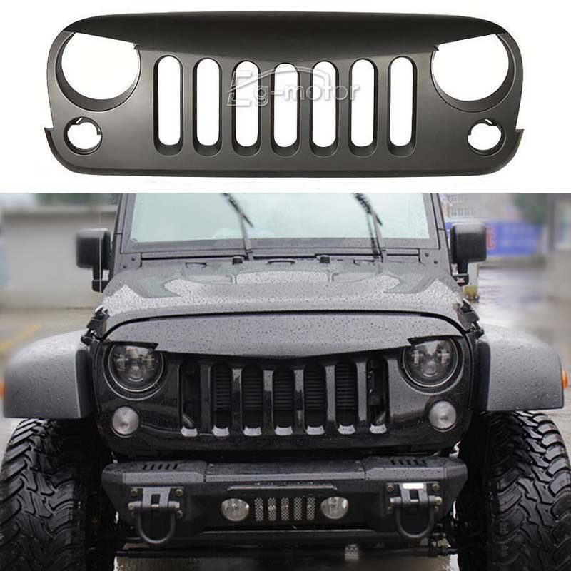 Front Grille Grill Matt Black For 2007 16 Jeep Wrangler Jk Rubicon