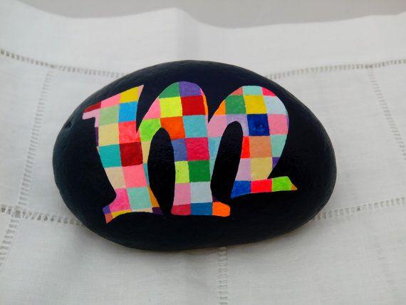 Painted Stone Alphabet Letters-Monogrammed malte Stein, Alphabet kieselstein Kunst, Briefbeschwerer Initial-Garten Dekoration-