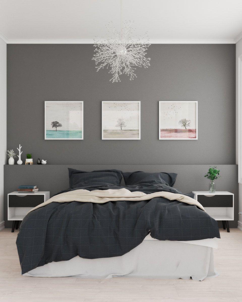 Scandinavian Bedroom With Dark Gray Accent Wall In 2020 Gray Accent Wall Bedroom Grey Accent Wall Light Gray Bedroom