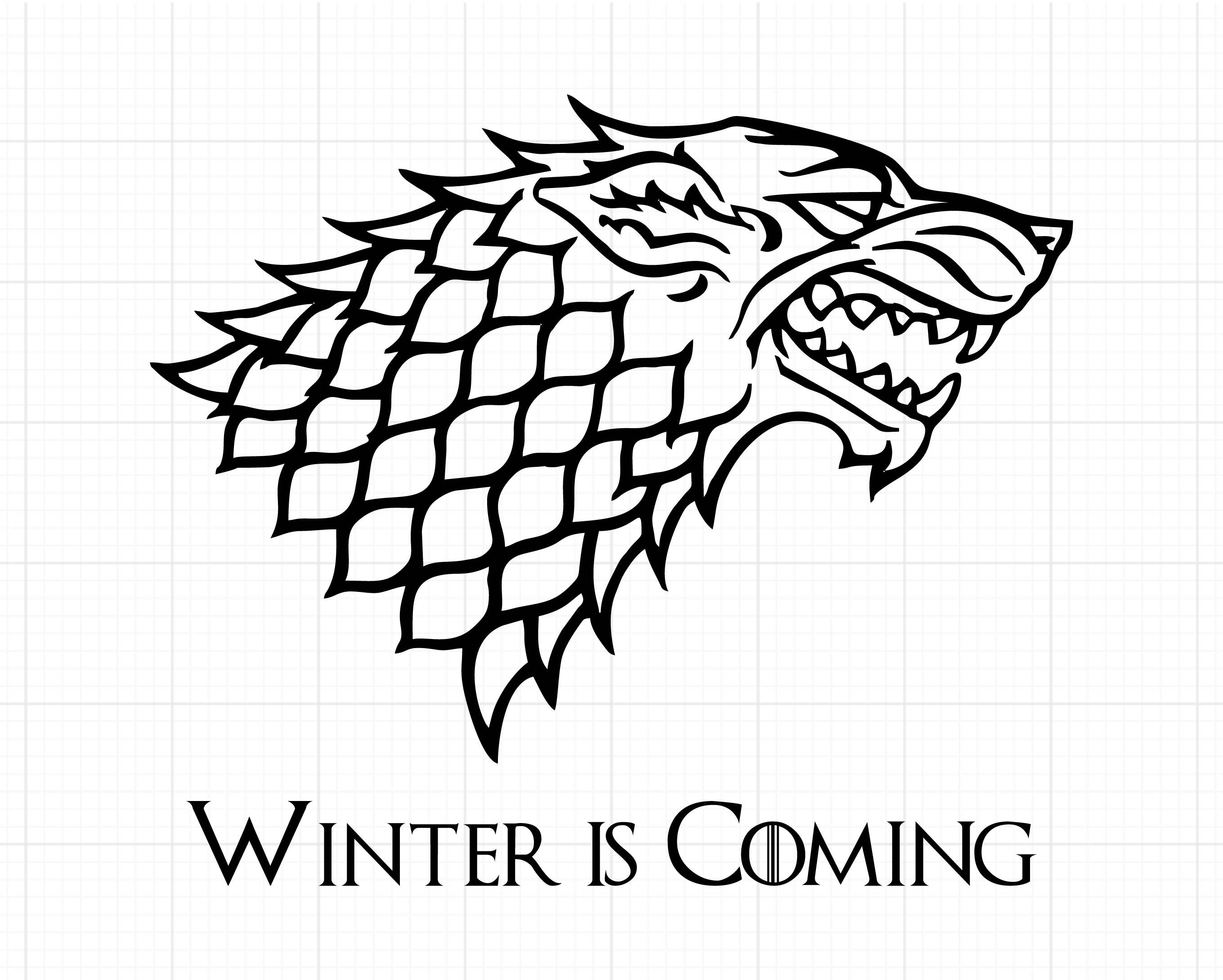 Stark Wolves Game Of Thrones Winter Is Coming Outline Svg Stitch Silhouette Coloring Page Tatoo Artes