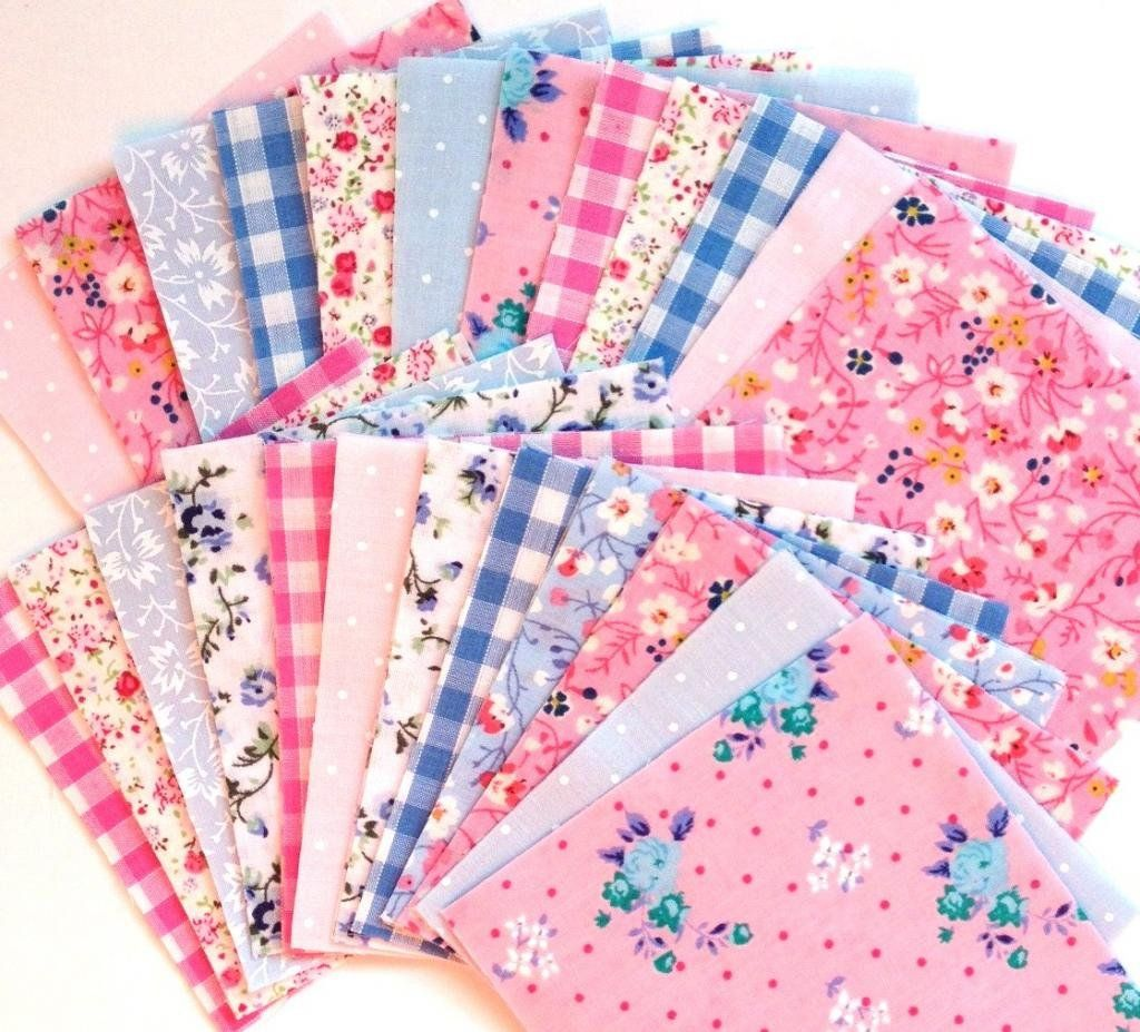 x 50 Shabby Chic Pink and Blue Patchwork Squares 10 x 10cm
