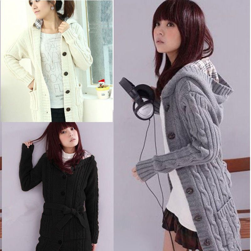 Women Ladies Long Sleeve Hooded Button Coat Outwear Warm Winter ...