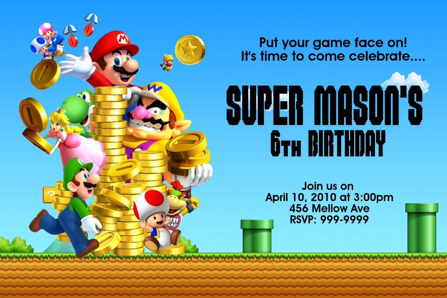 Super Mario Bros Birthday Invitations | Super mario bros, Mario bros ...