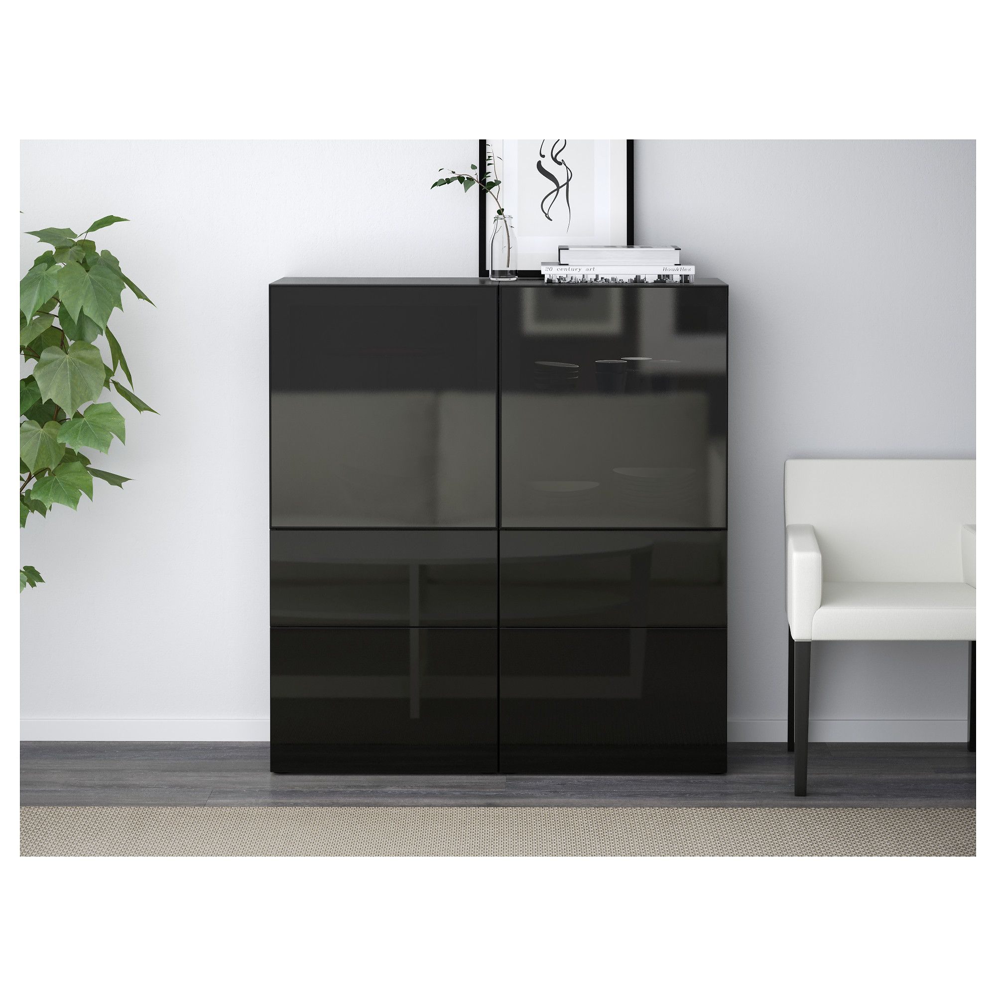 BESTÅ Storage combination w/glass doors blackbrown