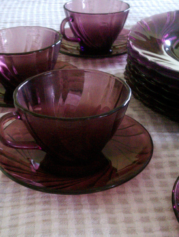 Vintage Duralex France Amethyst Rivage Glass Dinnerware