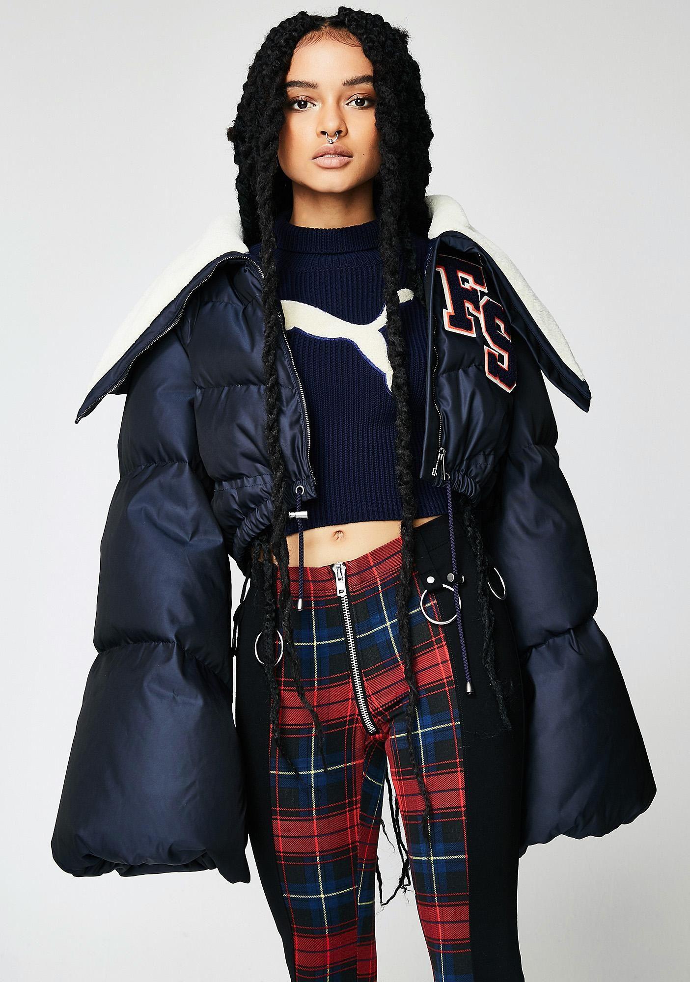 Puma Fenty Puma By Rihanna Funnel Collar Quilted Jacket Cuz You Just Tryna Get Cozy Af This Quilted Jacket Has A Logo P Quilted Jacket Cocktail Jacket Fashion [ 2000 x 1405 Pixel ]