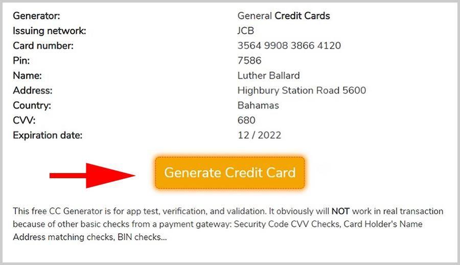 Free credit card numbers generator valid fake cc