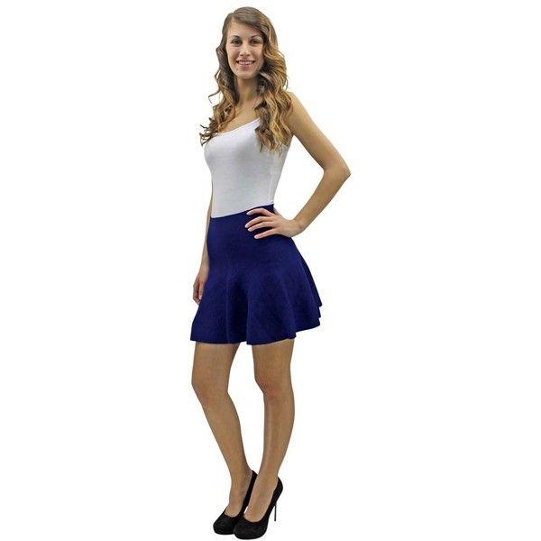 Navy Blue Stretchy Versatile Flared Skirt ($24) ❤ liked on Polyvore featuring skirts, navy blue, stretchy skirt, circle skirt, navy blue circle skirt, navy skirt and elastic waist skirt