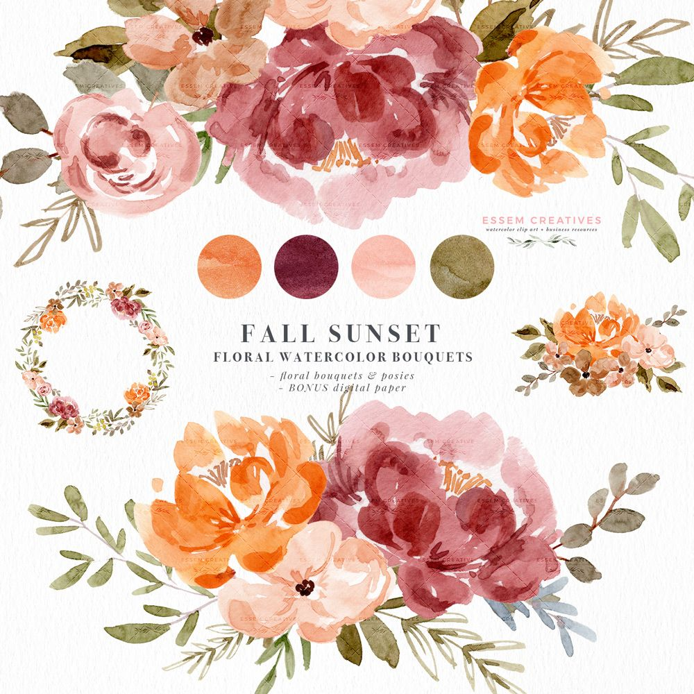 Watercolor Fall Floral Clipart Orange Rust Thanksgiving