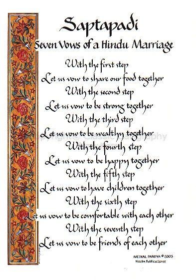 Marriage Wedding Vows Image Of Calligraphy P11 70 Saptapdi Seven A Hindu
