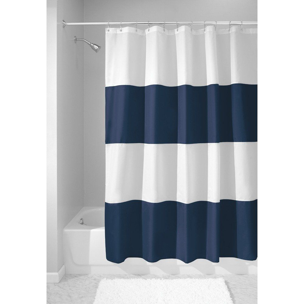 High Quality Arts Shower Curtains Dark Blue White Simple Stripes