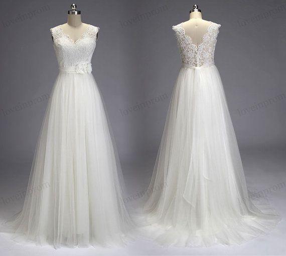 Vintage Lace Wedding Dress Handmade V-Back Wedding Gown/Ivory/White ...
